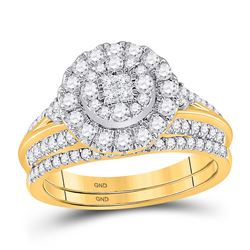 1 CTW Princess Diamond Bridal Wedding Ring 14kt Yellow Gold - REF-112A5M