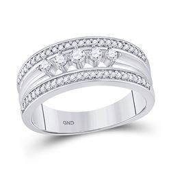 1/3 CTW Womens Round Diamond 5-Stone Band Ring 10kt White Gold - REF-27A3M