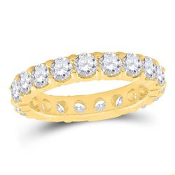 3 CTW Womens Round Pave-set Diamond Eternity Wedding Band Ring 14kt Yellow Gold - REF-313H5R