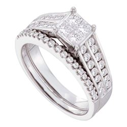 1 CTW Princess Diamond Bridal Wedding Ring 14kt White Gold - REF-123X5T