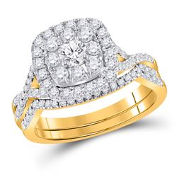 1 CTW Round Diamond Bridal Wedding Ring 14kt Yellow Gold - REF-109M2F