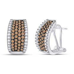 1 & 1/2 CTW Womens Round Brown Diamond French-Clip Hoop Earrings 14kt White Gold - REF-115V8Y