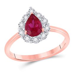 7/8 CTW Womens Pear Ruby Diamond Teardrop Solitaire Ring 14kt Rose Gold - REF-36R2X