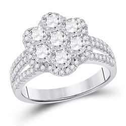 1 & 3/4 CTW Round Diamond Cluster Bridal Wedding Engagement Ring 14kt White Gold - REF-218H2R