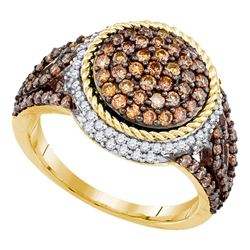 1 & 1/5 CTW Womens Round Brown Diamond Cluster Ring 10kt Yellow Gold - REF-61M4F