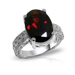 Genuine 6 ctw Garnet Ring 14KT White Gold - REF-129K6V