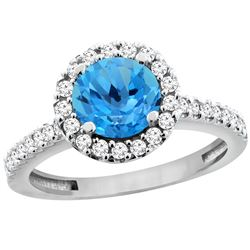 1.38 CTW Swiss Blue Topaz & Diamond Ring 14K White Gold - REF-60A8X