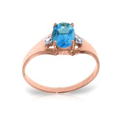 Genuine 0.76 ctw Blue Topaz & Diamond Ring 14KT Rose Gold - REF-20F8Z