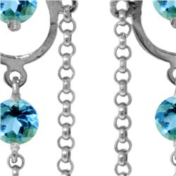 Genuine 3 ctw Blue Topaz Earrings 14KT White Gold - REF-48Y9F