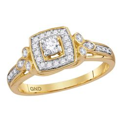 1/3 CTW Round Diamond Round Halo Bridal Wedding Engagement Ring 10kt Yellow Gold - REF-45X2T