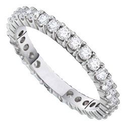 1 CTW Womens Round Pave-set Diamond Eternity Wedding Anniversary Band Ring 14kt White Gold - REF-81W