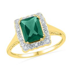 1 & 3/4 CTW Womens Emerald Lab-Created Emerald Solitaire Ring 10kt Yellow Gold - REF-23R9X