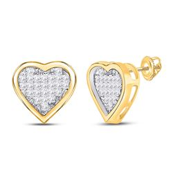 1/3 CTW Womens Princess Diamond Heart Earrings 10kt Yellow Gold - REF-21M8F