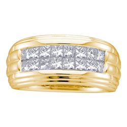 1/2 CTW Mens Princess Diamond Double Row Wedding Band Ring 14kt Yellow Gold - REF-97F5W
