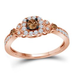 1/2 CTW Womens Round Brown Diamond Solitaire Ring 10kt Rose Gold - REF-47V6Y
