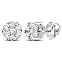 1/4 CTW Womens Round Diamond Flower Cluster Earrings 14kt White Gold - REF-23Y7N