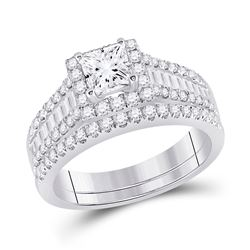 1 & 3/4 CTW Princess Diamond Bridal Wedding Ring 14kt White Gold - REF-323R7X