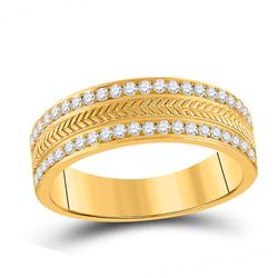 1/2 CTW Mens Round Diamond Wedding Wheat Band Ring 14kt Yellow Gold - REF-92F6W