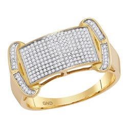 1/3 CTW Mens Round Diamond Rectangle Cluster Ring 10kt Yellow Gold - REF-53Y9N