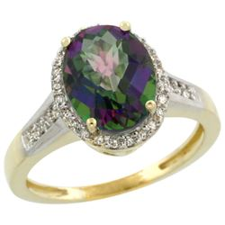 2.60 CTW Mystic Topaz & Diamond Ring 10K Yellow Gold - REF-46N7Y