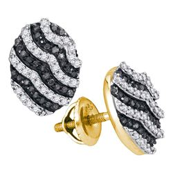 1/2 CTW Womens Round Black Color Enhanced Diamond Oval Earrings 10kt Yellow Gold - REF-24V5Y