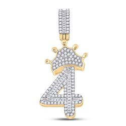 3/4 CTW Mens Baguette Diamond Number 4 Crown Charm Pendant 10kt Yellow Gold - REF-37Y5N