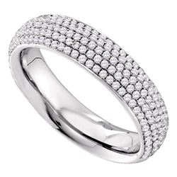 3/4 CTW Womens Round Pave-set Diamond Wedding Band Ring 14kt White Gold - REF-95H5R