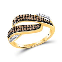 1/3 CTW Womens Round Brown Diamond Band Ring 10kt Yellow Gold - REF-21N8A