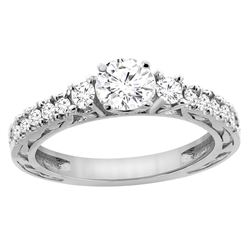 1.09 CTW Diamond Ring 14K White Gold - REF-307M6A