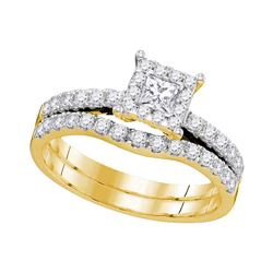7/8 CTW Princess Diamond Bridal Wedding Ring 14K Yellow Gold - REF-98A9M