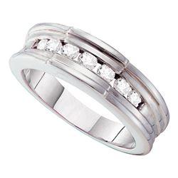 1/4 CTW Mens Round Diamond Wedding Band Ring 14kt White Gold - REF-34H3R