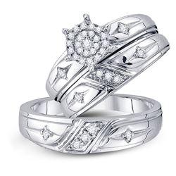 1/3 CTW His Hers Round Diamond Cluster Matching Wedding Set 10kt White Gold - REF-51R2X