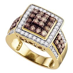 1 & 1/2 CTW Womens Round Brown Diamond Square Cluster Ring 10kt Yellow Gold - REF-94X6T