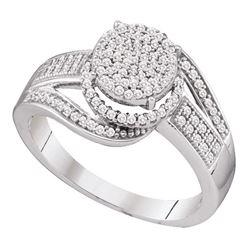 3/8 CTW Womens Round Diamond Cluster Ring 10kt White Gold - REF-32M7F