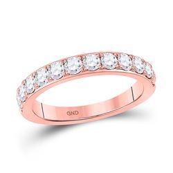 1 CTW Womens Round Diamond Wedding Single Row Band Ring 14kt Rose Gold - REF-99T2V