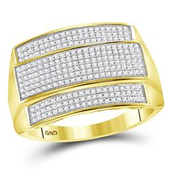 3/8 CTW Mens Round Diamond Rectangle Cluster Ring 10kt Yellow Gold - REF-60M2F