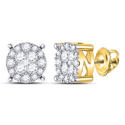 1 CTW Womens Round Diamond Circle Frame Cluster Earrings 14kt Yellow Gold - REF-88T5V