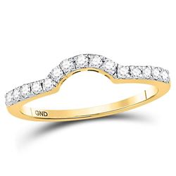 1/4 CTW Womens Round Diamond Curved Wedding Enhancer Band Ring 14kt Yellow Gold - REF-36X2T