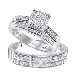 1/3 CTW His Hers Round Diamond Square Matching Wedding Set 10kt White Gold - REF-40F8W