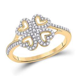 1/5 CTW Womens Round Diamond Heart Ring 10kt Yellow Gold - REF-20H5R