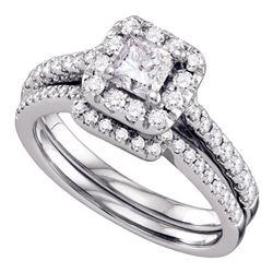 1 CTW Princess Diamond Halo Bridal Wedding Ring 14kt White Gold - REF-150Y2N