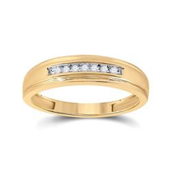 1/12 CTW Mens Round Diamond Wedding Band Ring 10kt Yellow Gold - REF-19N3A