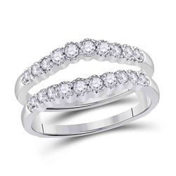 1/2 CTW Womens Round Diamond Wrap Ring 14kt White Gold - REF-78W3H