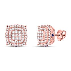 7/8 CTW Womens Round Diamond Blue Sapphire Square Earrings 14kt Rose Gold - REF-81X7T