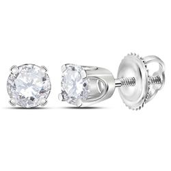 1/4 CTW Womens Round Diamond Solitaire Earrings 14kt White Gold - REF-17A6M