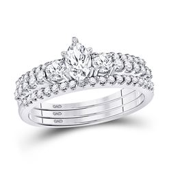 1 CTW Marquise Diamond 3-Piece Bridal Wedding Ring 14kt White Gold - REF-153M5F