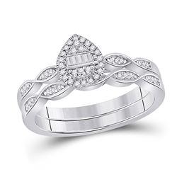 1/5 CTW Baguette Diamond Bridal Wedding Ring 10kt White Gold - REF-31N4A