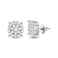 1 & 1/2 CTW Womens Round Diamond Cluster Earrings 10kt White Gold - REF-95W5H