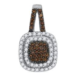 1/2 CTW Womens Round Brown Diamond Square Frame Pendant 10kt White Gold - REF-27R3X