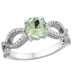 1 CTW Amethyst & Diamond Ring 10K White Gold - REF-49R6H